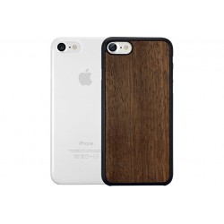 OZAKI 2IN1 JELLY + WOOD - IPHONE 7/8/SE \\ SET DA 2 CUSTODIE (0,3MM + CUSTODIA RIGIDA) - EBONY