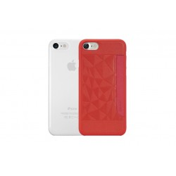 OZAKI 2IN1 JELLY + POCKET - IPHONE 7/8/SE \\ SET DA 2 CUSTODIE (0,3MM + CUSTODIA RIGIDA) - RED