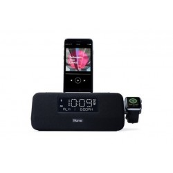 iHome IPLWBT5B Dual Alarm \\ Radiosveglia Bluetooth con dock Lightning e Apple Watch - Nero